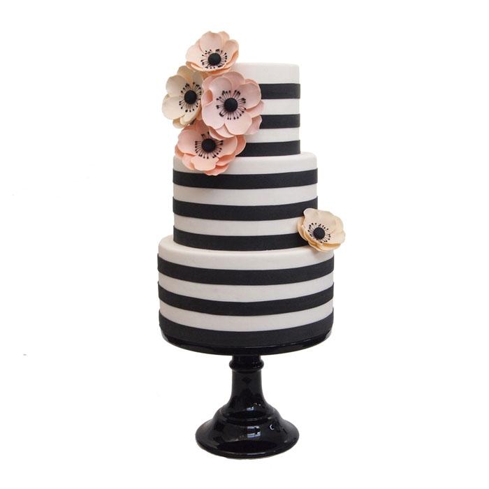 Black and White Fondant Wedding Cake with Anemones