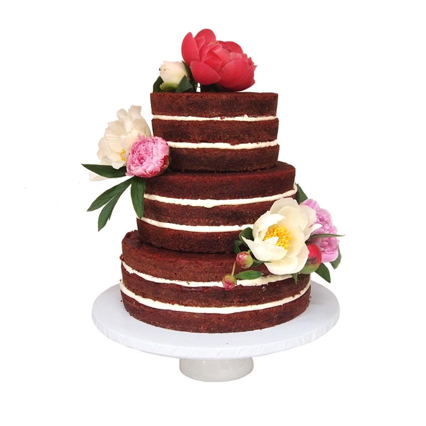 Red Velet Naked Cake || Sugarlips Cakes || www.SugarlipsCakes.com