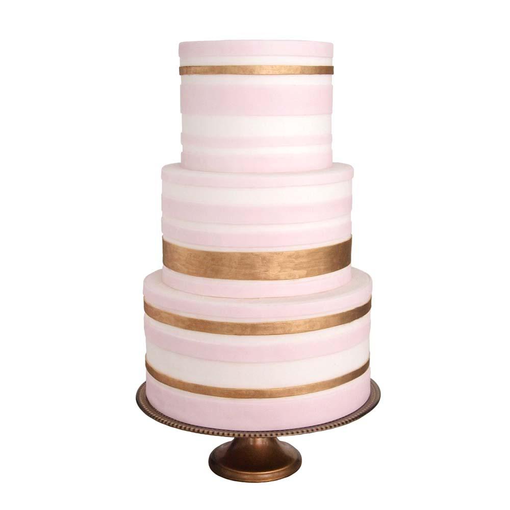 Blush & Gold Stripes || Sugarlips Cakes || www.SugarlipsCakes.com