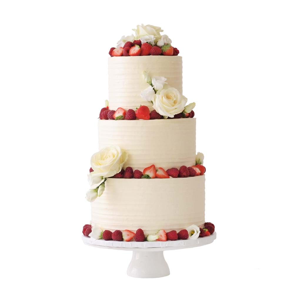 Rustic Buttercream Wedding Cake with Fruit and Flowers
