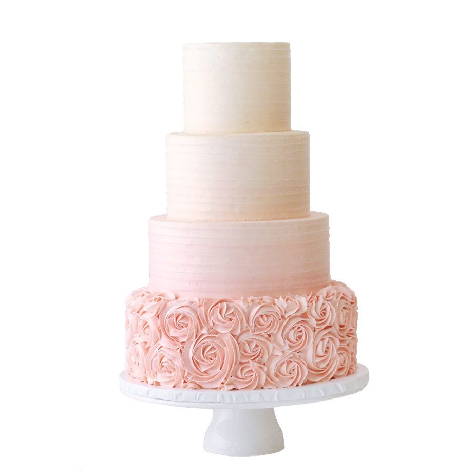 Ombre Pink Buttercream Wedding Cake with Rosettes