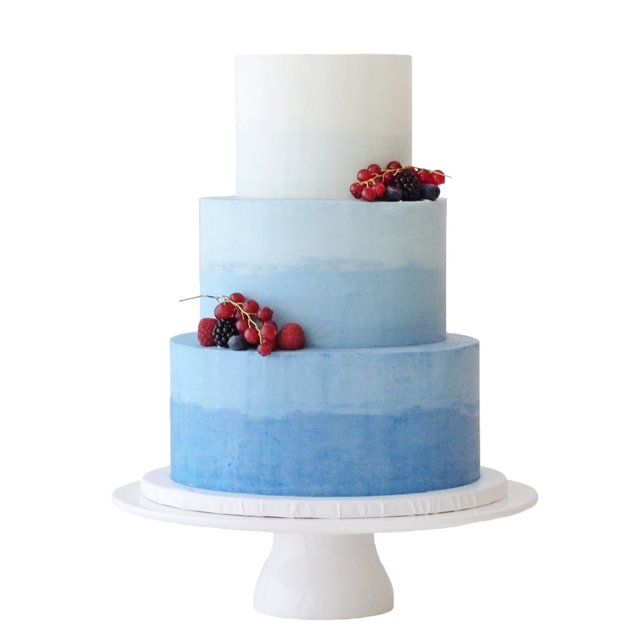 Blue Ombre Watercolor Wedding Cake