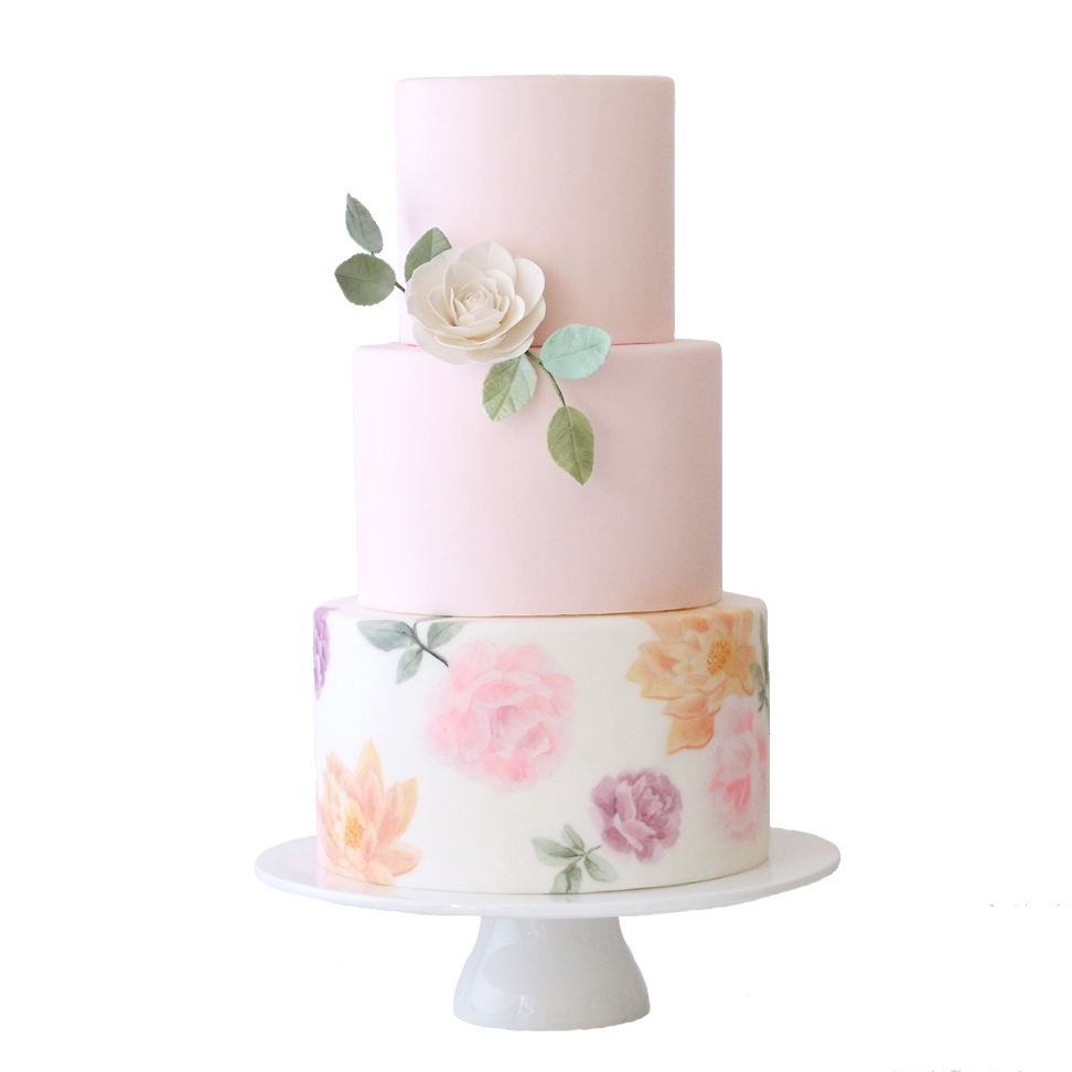 Painted Flowers || Sugarlips Cakes || www.SugarlipsCakes.com