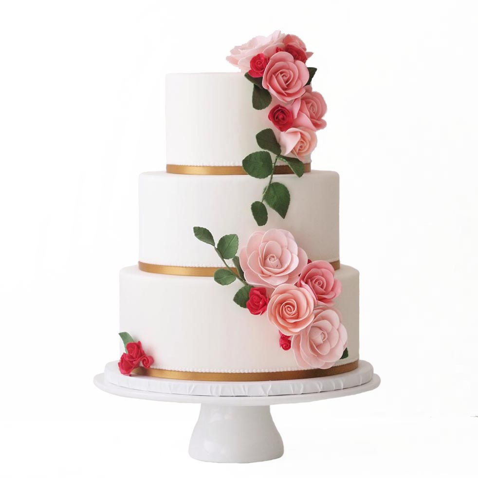 White Fondant Cake with Gold Details and Flowers