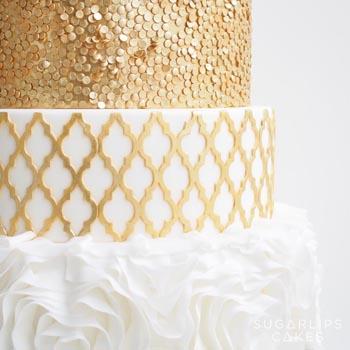 Gold Moroccan Quarterfoil Rosette Sequin Cake