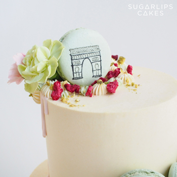 Paris Macaron Drip Wedding Cake