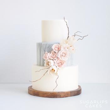 Marble Tulip Wedding Cake