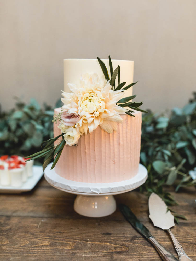 Rustic Blush Buttercream Wedding Cake with Flowers