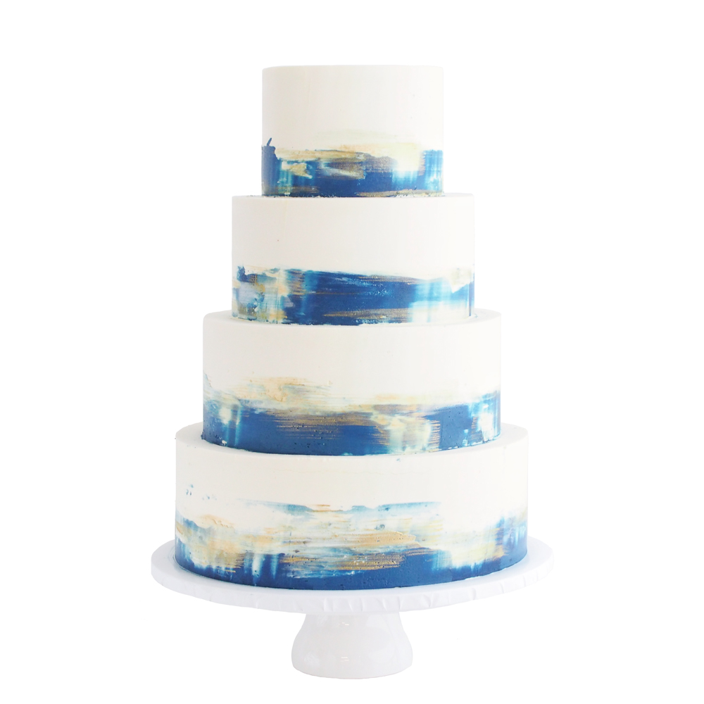 Blue and Gold Watercolor Buttercream Wedding Cake