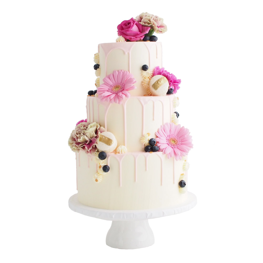 Drip Cake with Blush Flowers