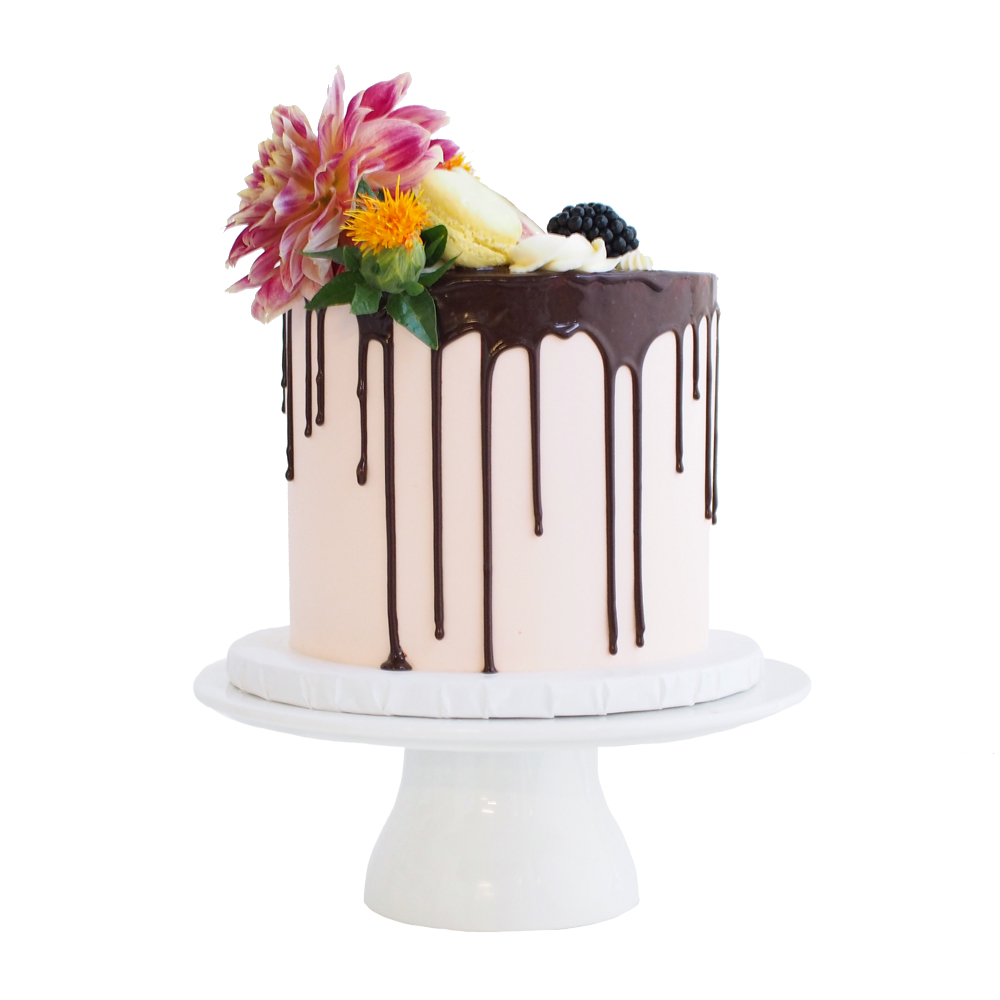 Blush Pink Buttercream Cake with a Chocolate Drip