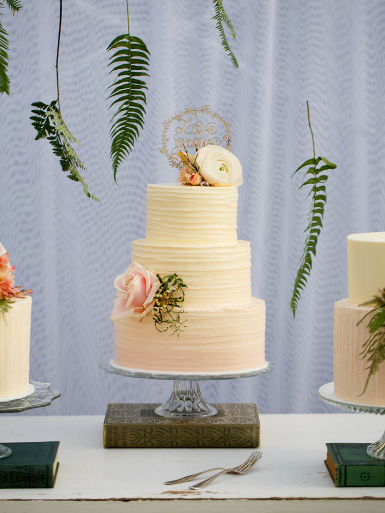 Ombre Pink Buttercream Wedding Cake Table