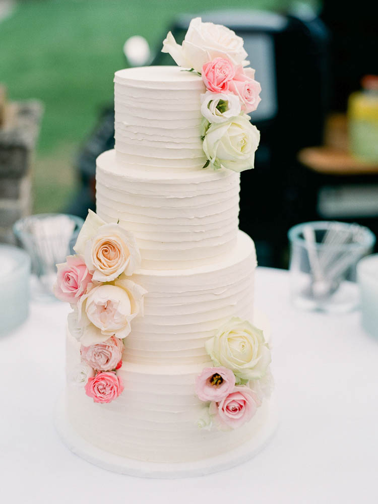 Textured Buttercream Wedding Cake with Pastel Flowers