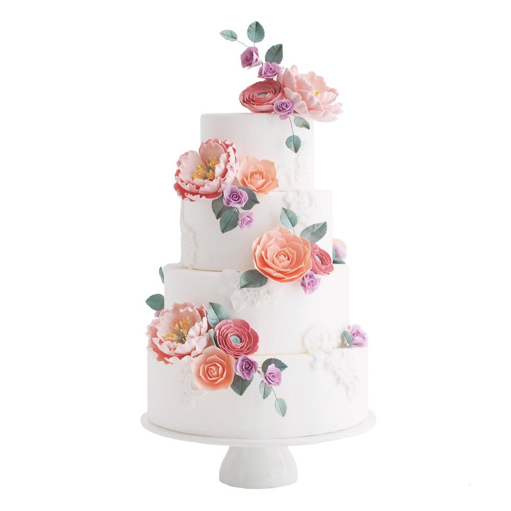 Kleurrijke Suikerbloemen Fondant Bruidstaart