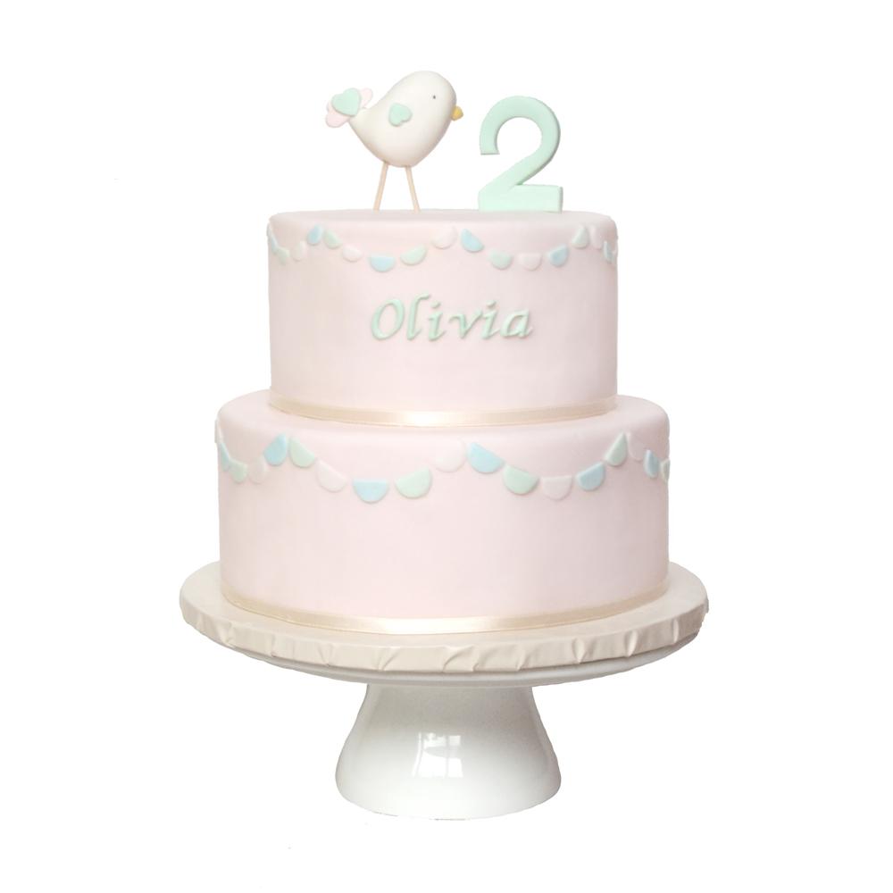Pastel Bunting 2nd Birthday Cake