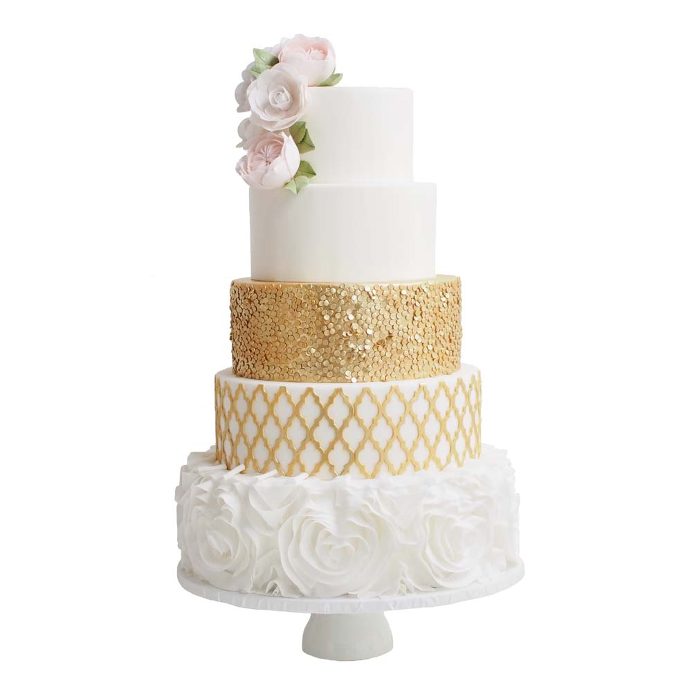 Elegant Gold Wedding Cake with David Austin Roses