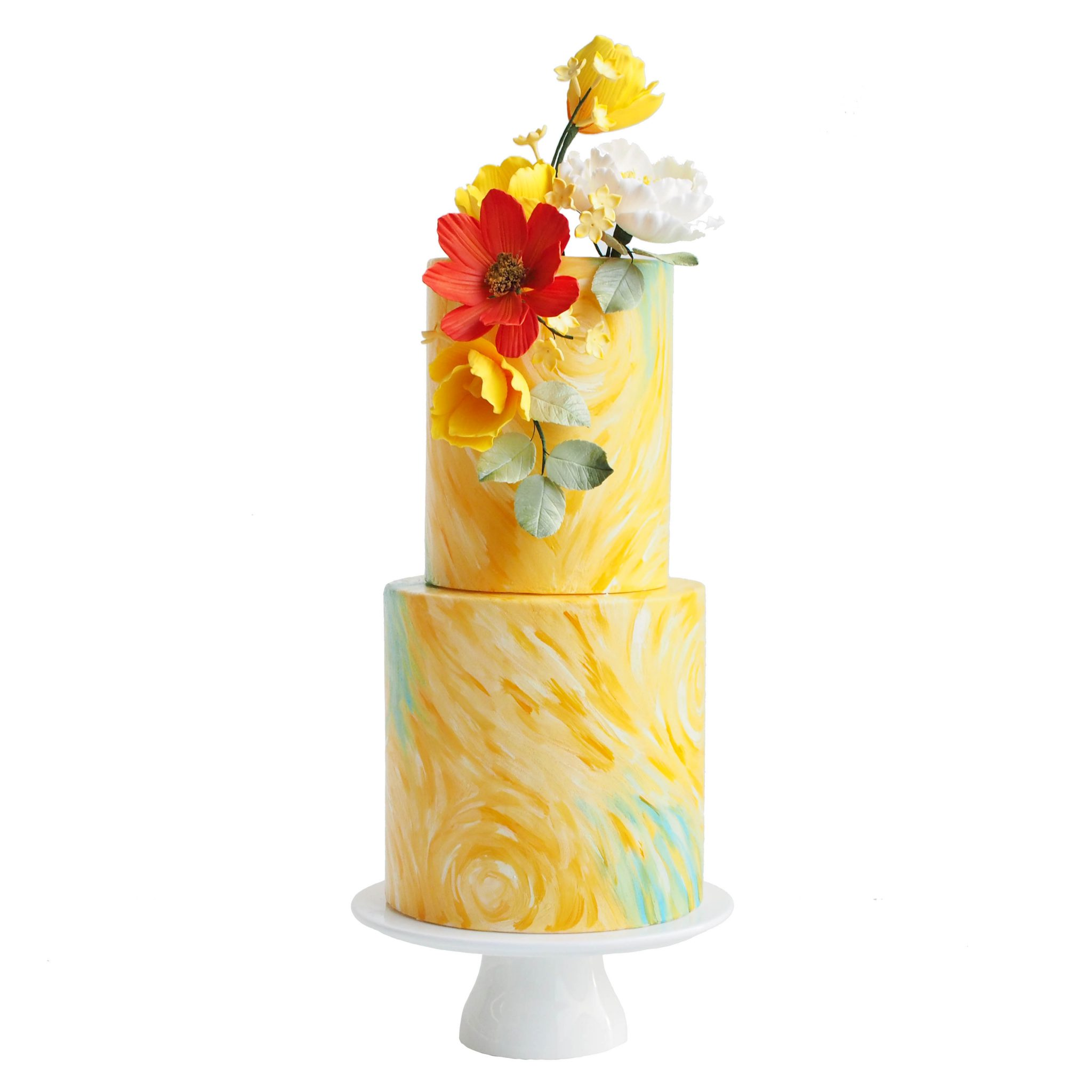 Yellow Painted Wedding Cake with Bold Flowers