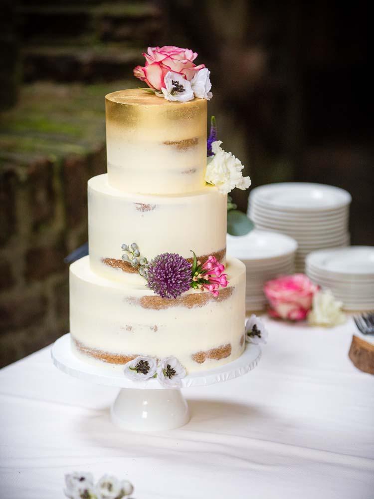 Semi-Naked Wedding Cake with Gold