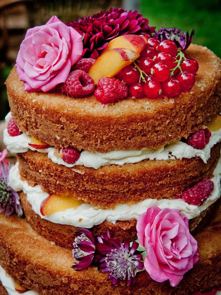 Naked Wedding Cake with Spilling Fruit