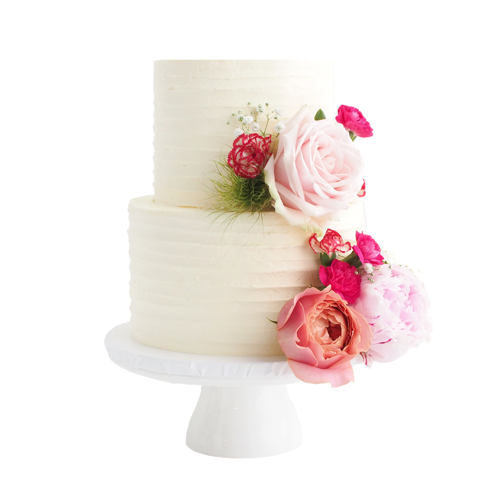 Textured Buttercream Wedding Cake with Flowers