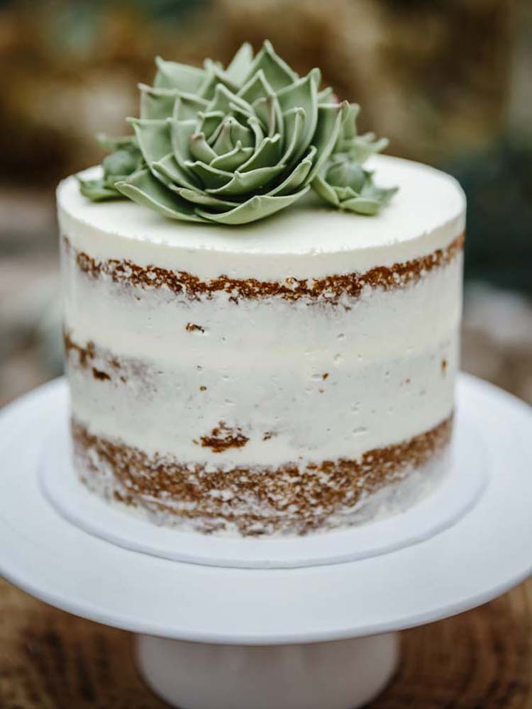 Naked Wedding Cake with Sugar Succulents