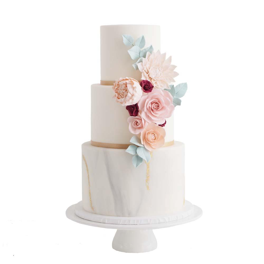 Grijze Marmer Fondant Bruidstaart met Pastel Suikerbloemen