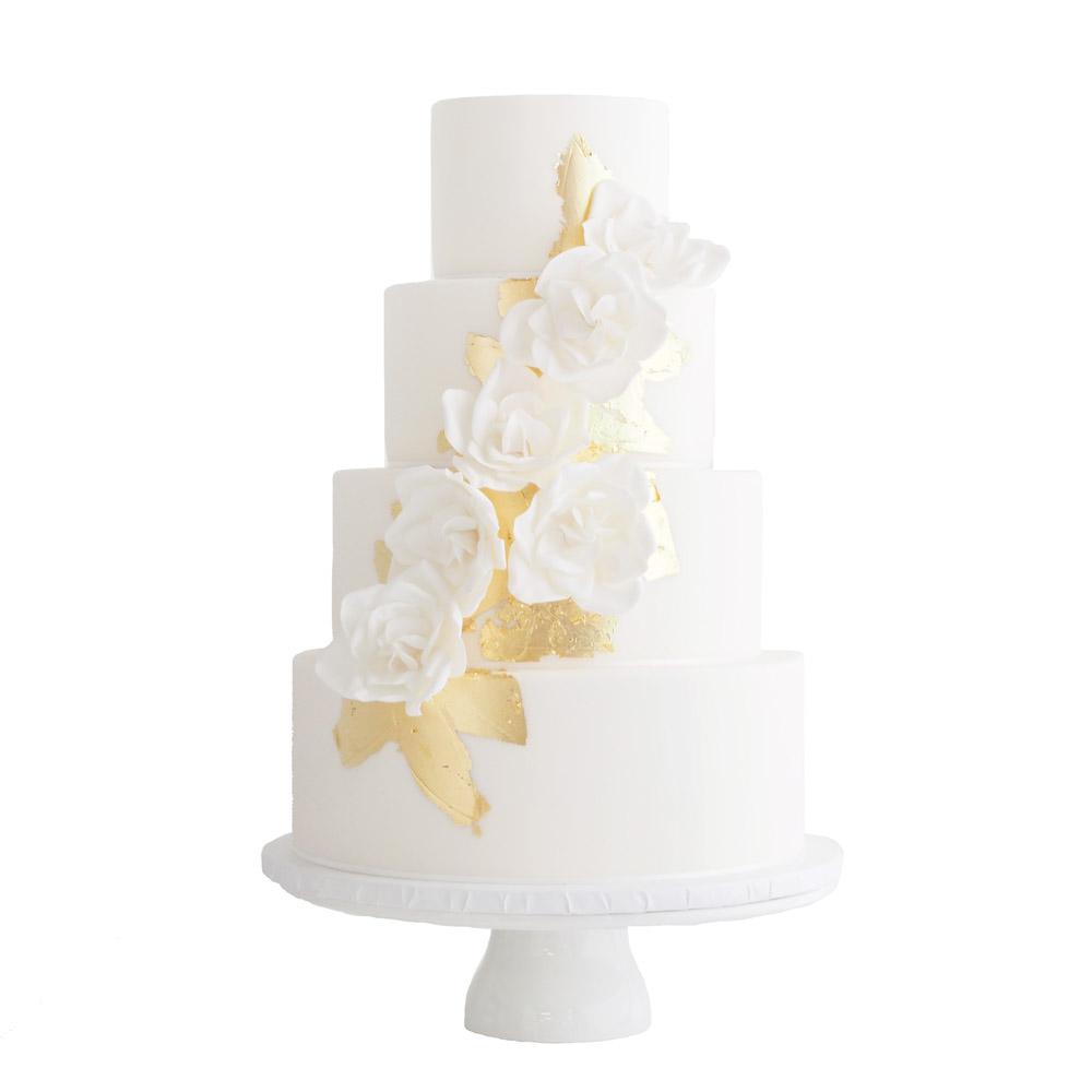 White Fondant Wedding Cake with Gold Leaf and Gardenias