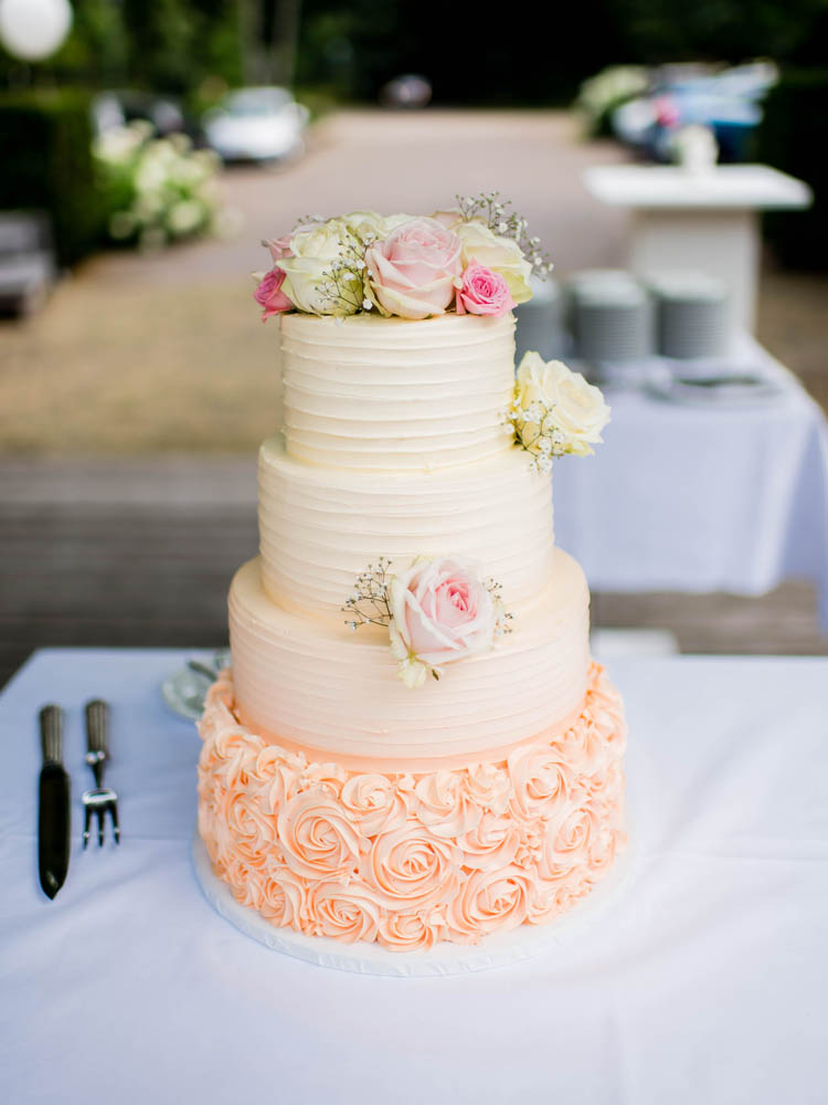 Ombre Peach Buttercream Wedding Cake with Rosettes