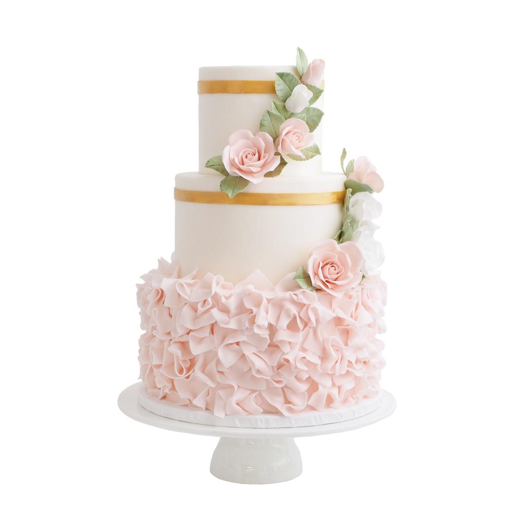 Roze Ruffles met Suikerbloemen Cascades