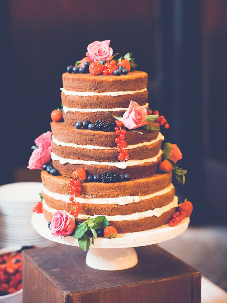 Rustic Naked Wedding Cake with Fruit and Flowers