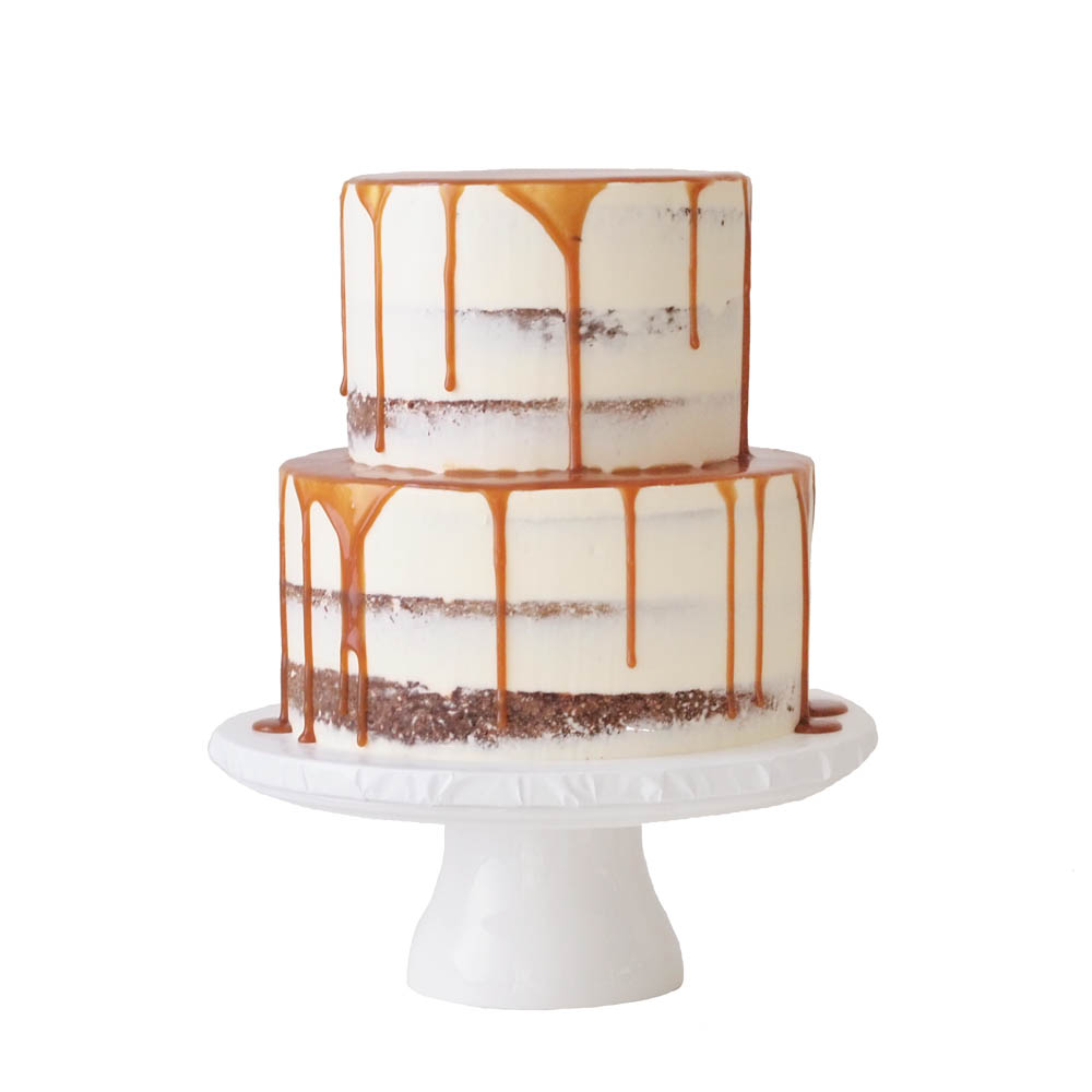 Naked Wedding Cake with a Salted Caramel Drip