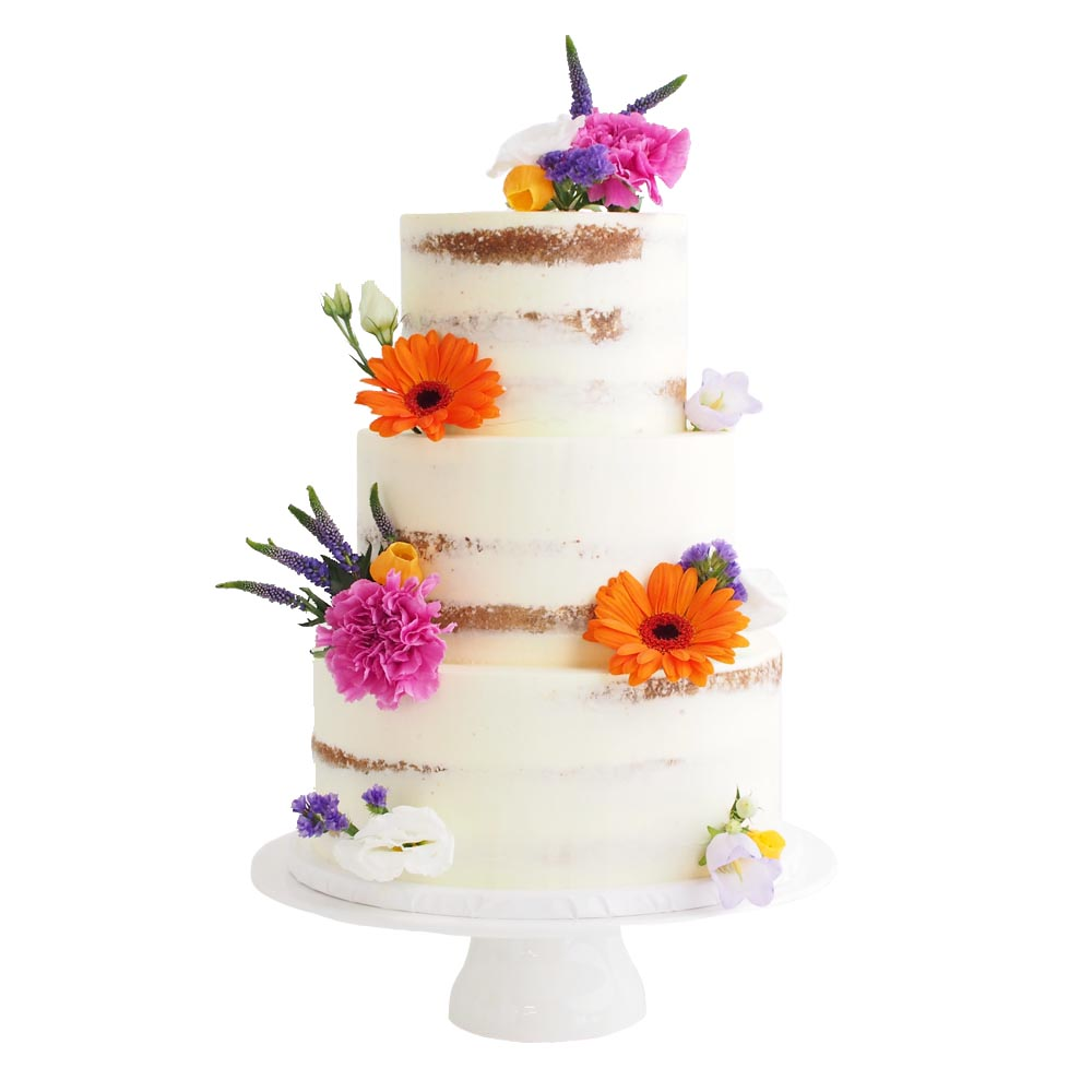 Naked Wedding Cake with Field Flowers