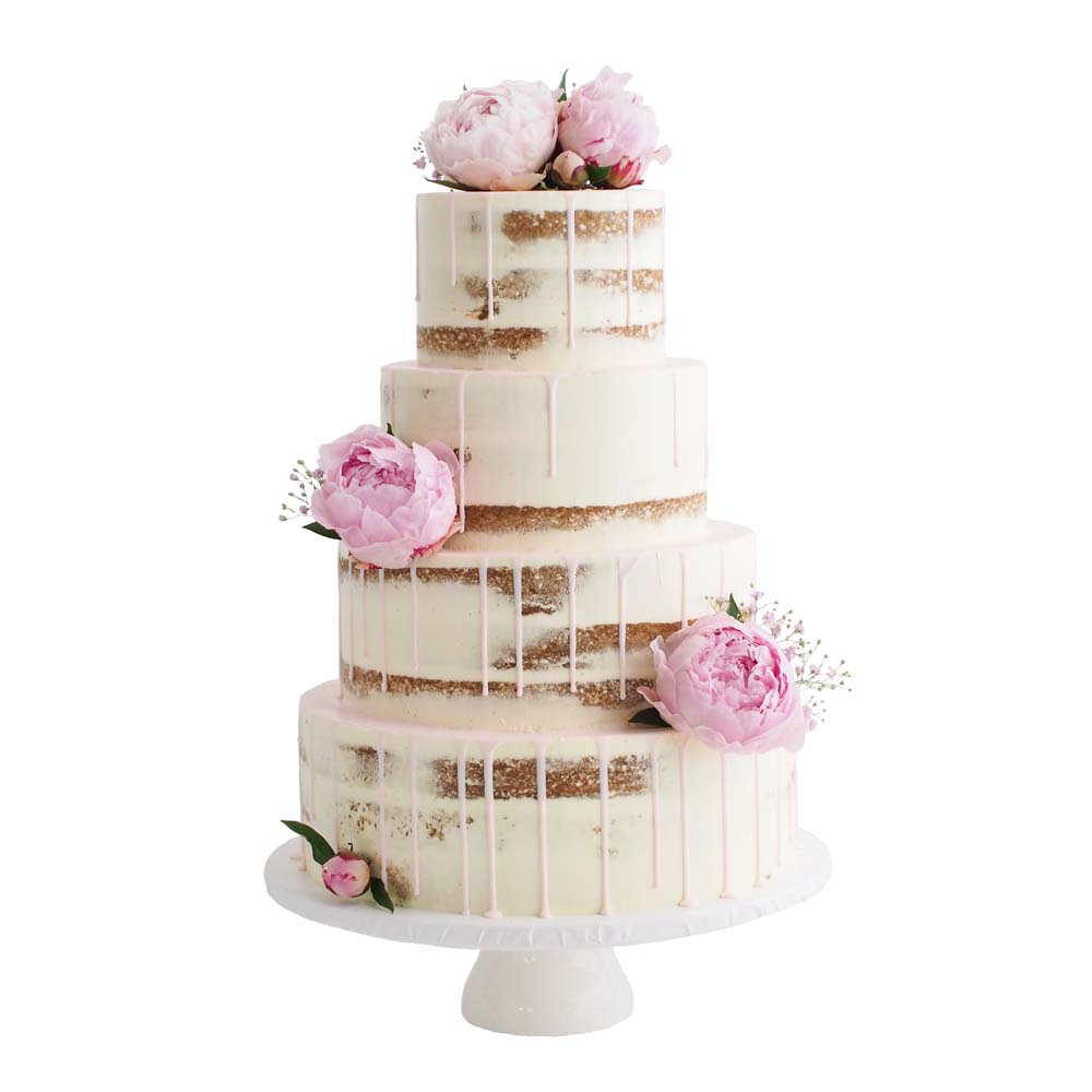 Naked Wedding Cake with Blush Pink Drip and Peonies
