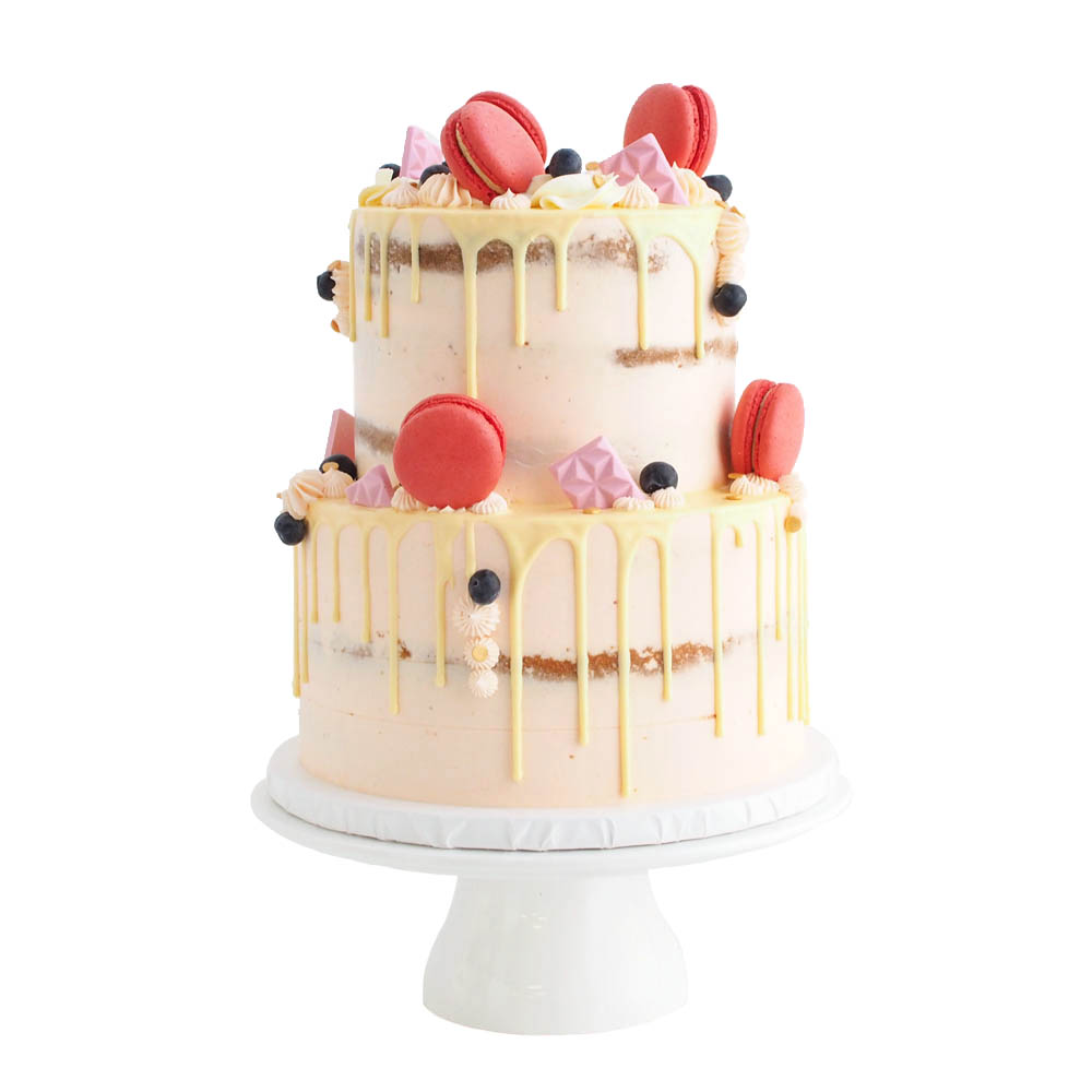 Peach Naked Cake with a White Chocolate Drip