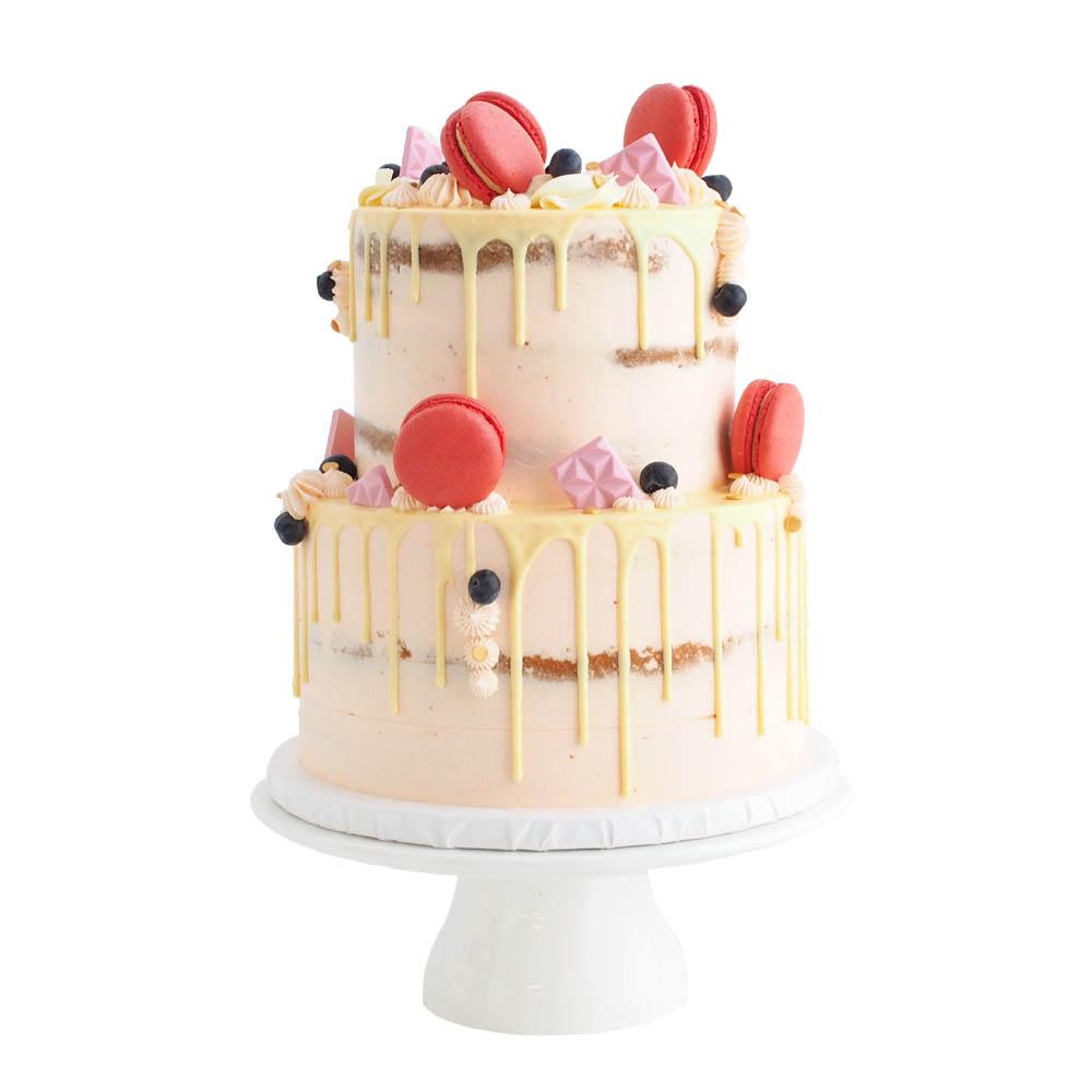 Drip Cake with Macarons