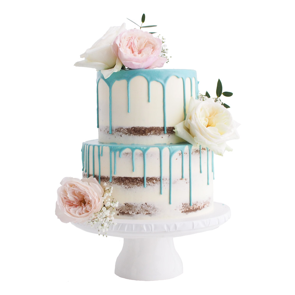 Blue Drip Cake with Blush Flowers