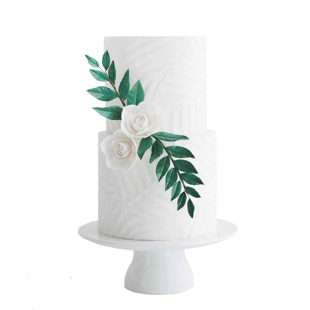 Witte Geometrische Botanische Bruidstaart met Suikerbloemen