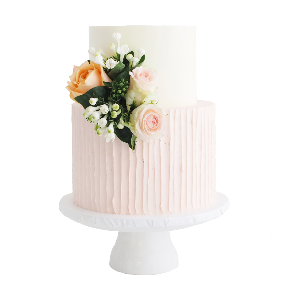 Rustic Blush Pink Buttercream Wedding Cake with Flowers