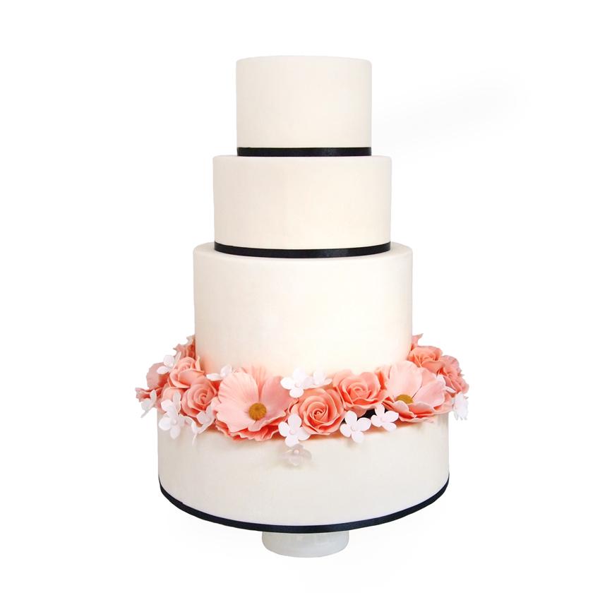 Chique Gebroken Wit Fondant Bruidstaart met Peach Suikerbloemen