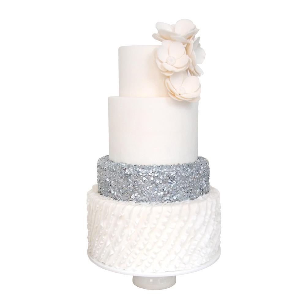 Zilveren Confetti Fondant Bruidstaart met Witte Suikerbloemen