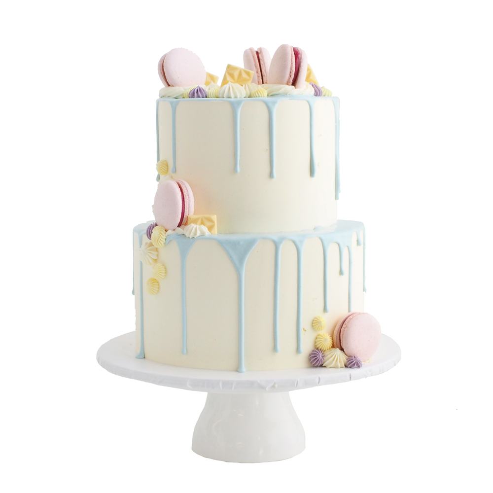 Drip Cake with Pastel Blue