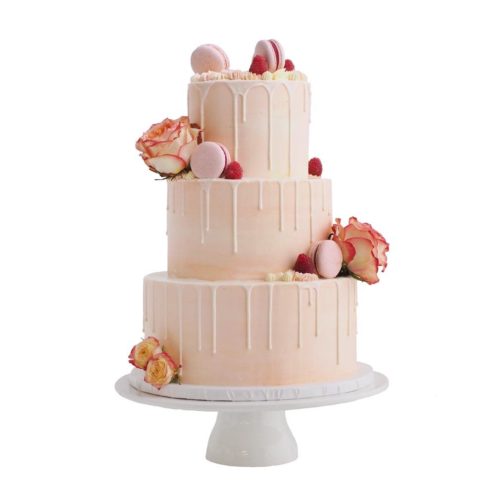 Blush Watercolor Drip Cake