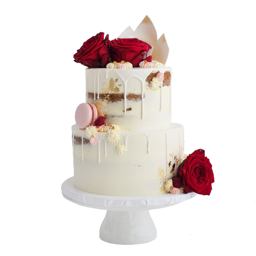 Semi Naked Wedding Cake with Red Roses